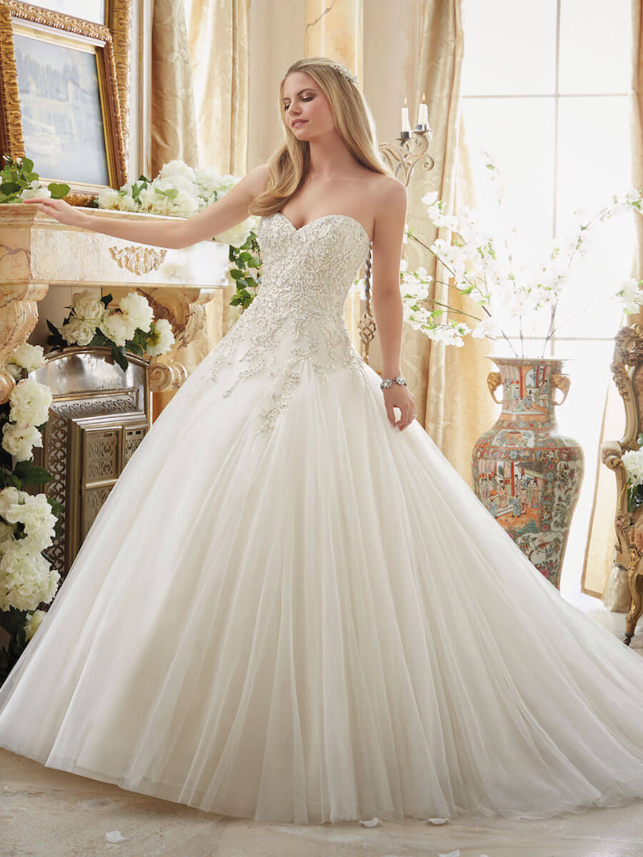 gored tulle ball gown wedding dress