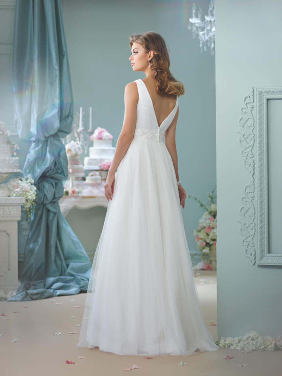 Sleeveless tulle and satin A-line gown