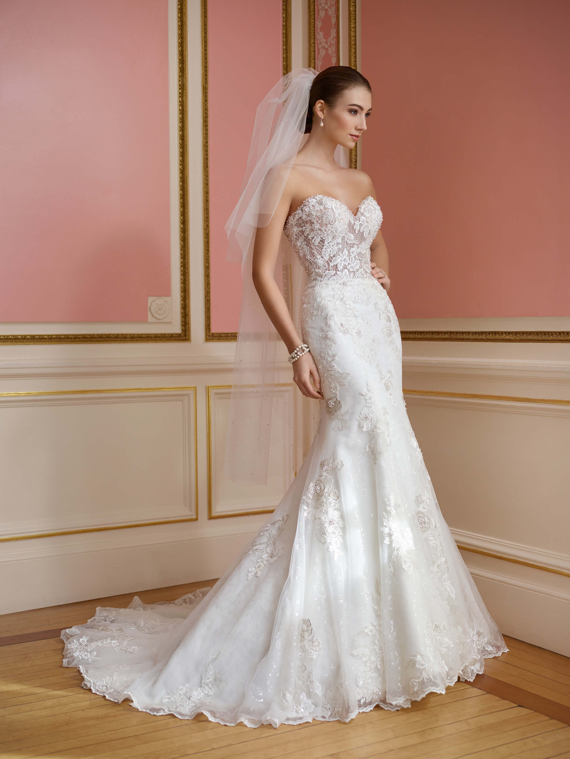 strapless sheer lace bodice wedding gown