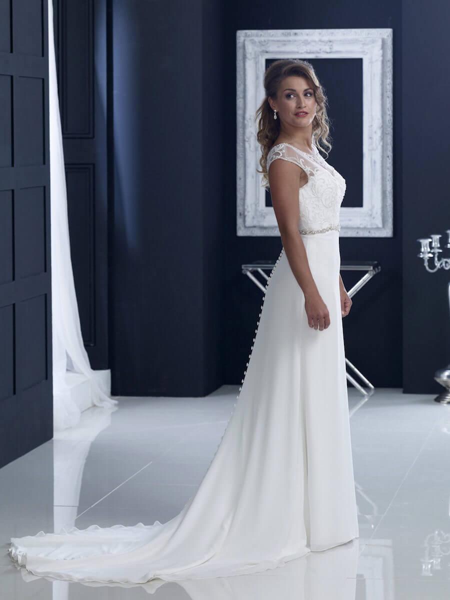 chiffon sheath gown