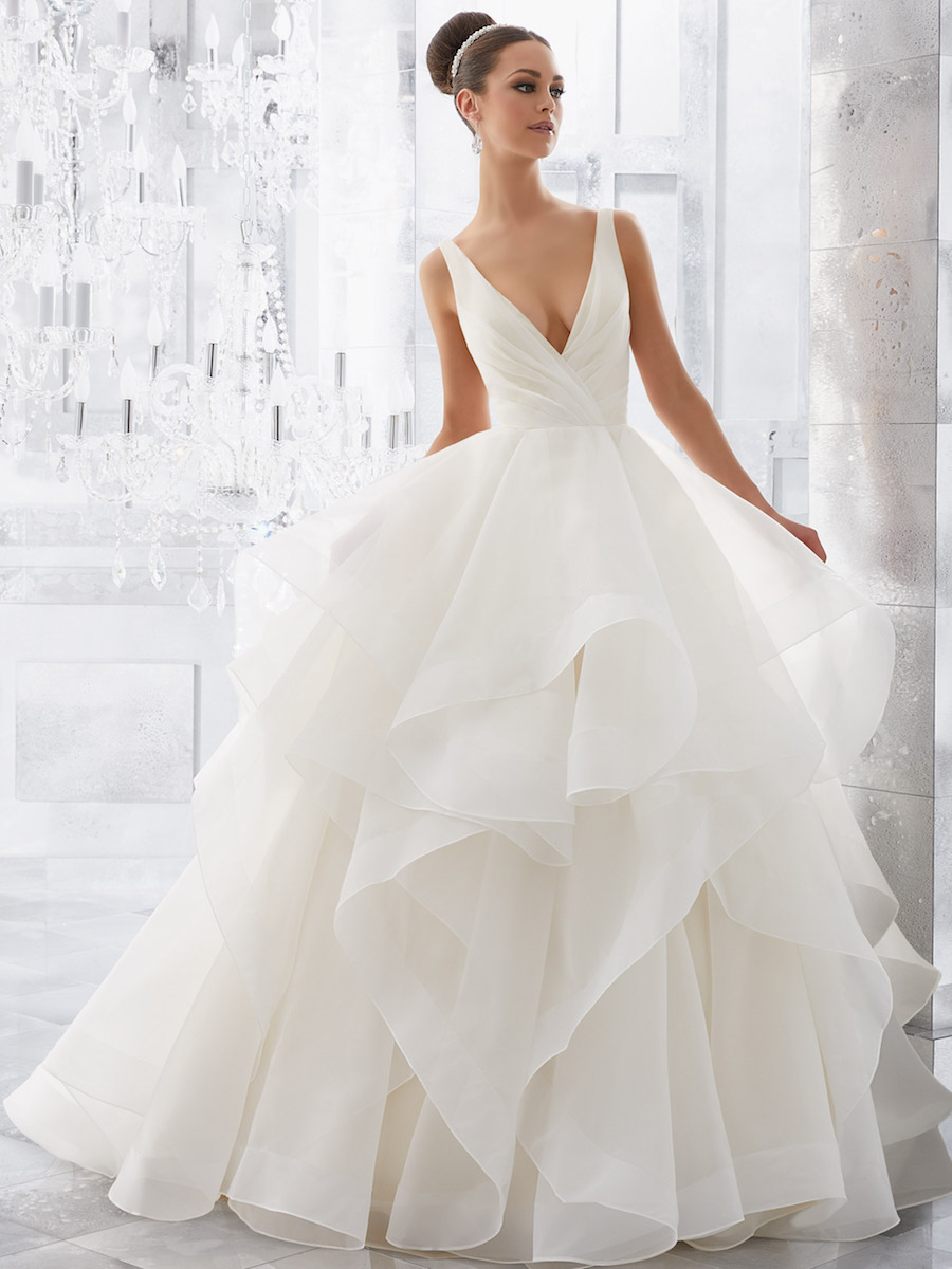 stunningly flounced organza ball gown