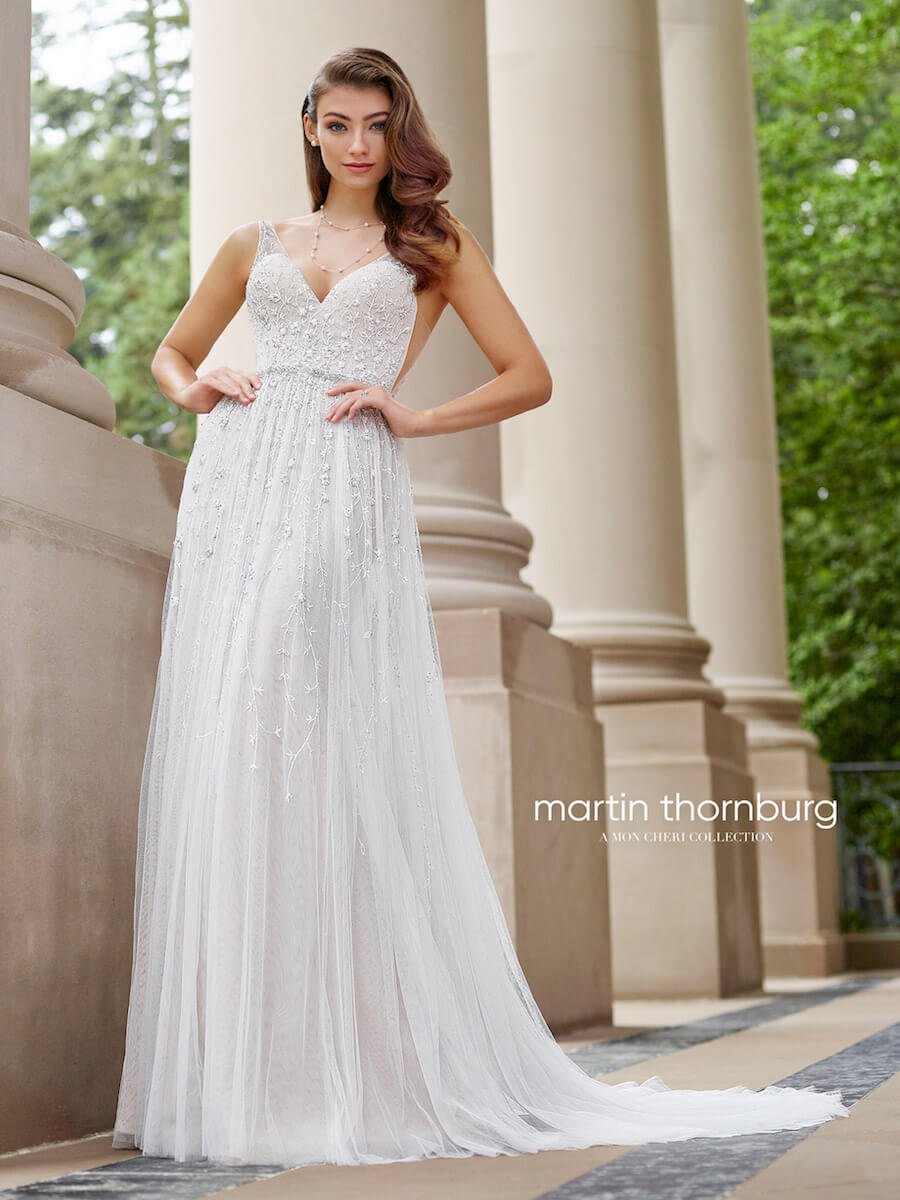 sleeveless A-line gown