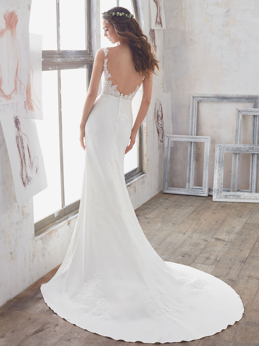 chic crepe sheath gown