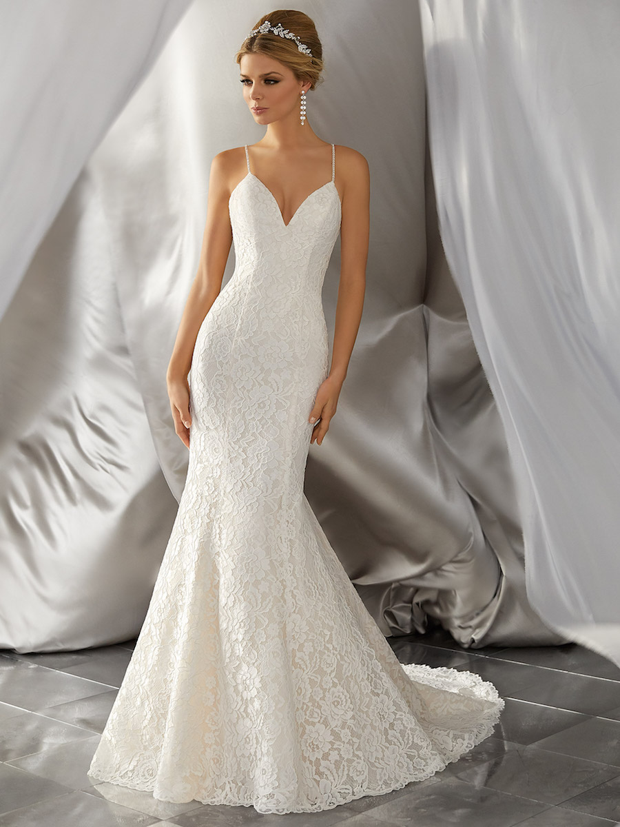 stunning allover alençon lace gown