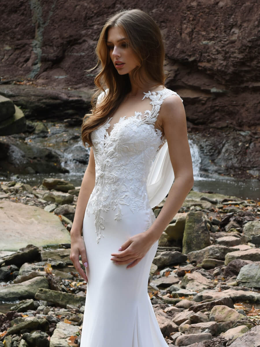 sparkle crepe column dress