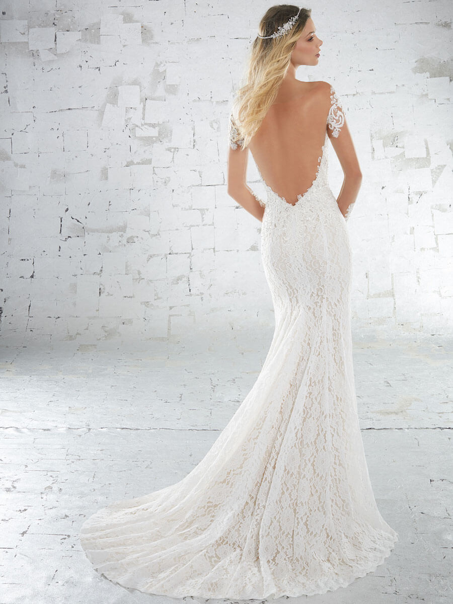 allover lace sheath gown
