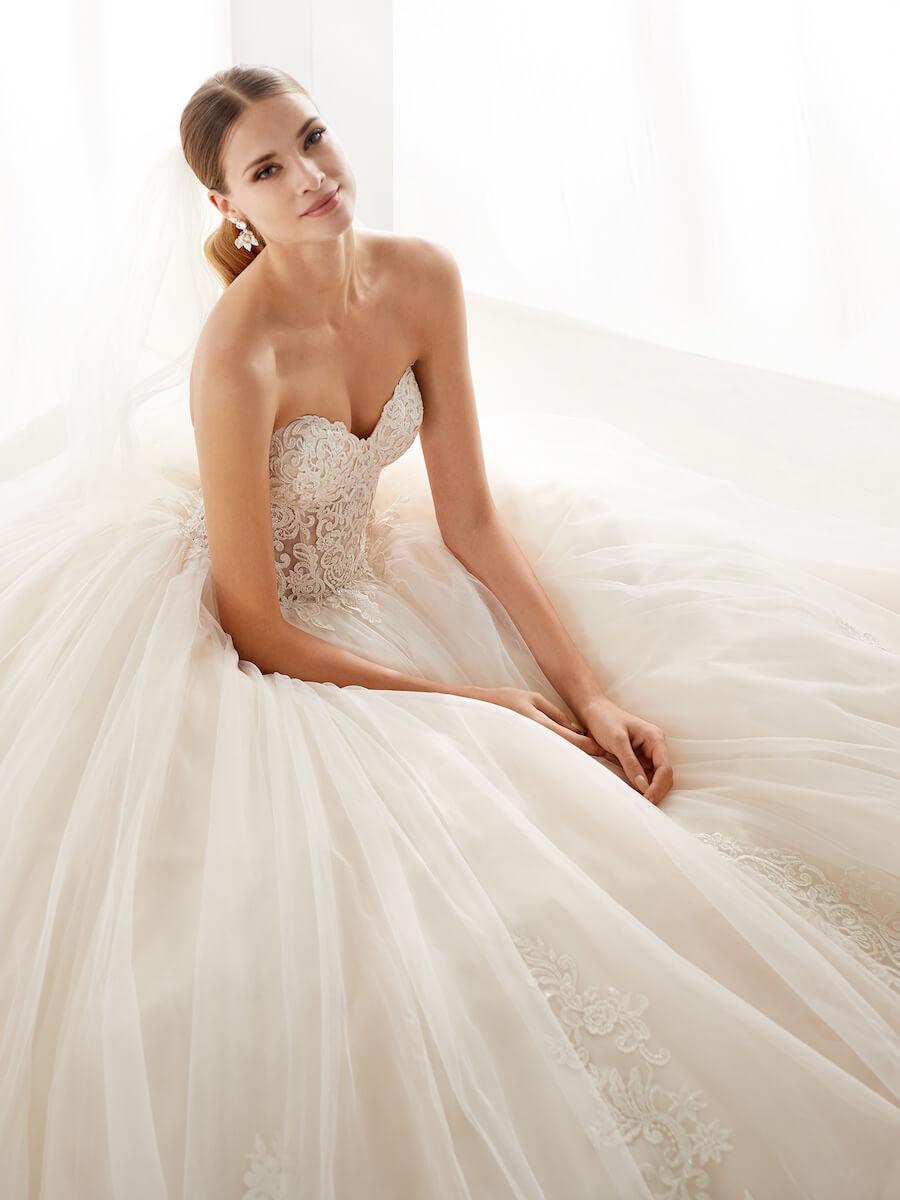 princess champagne wedding dress