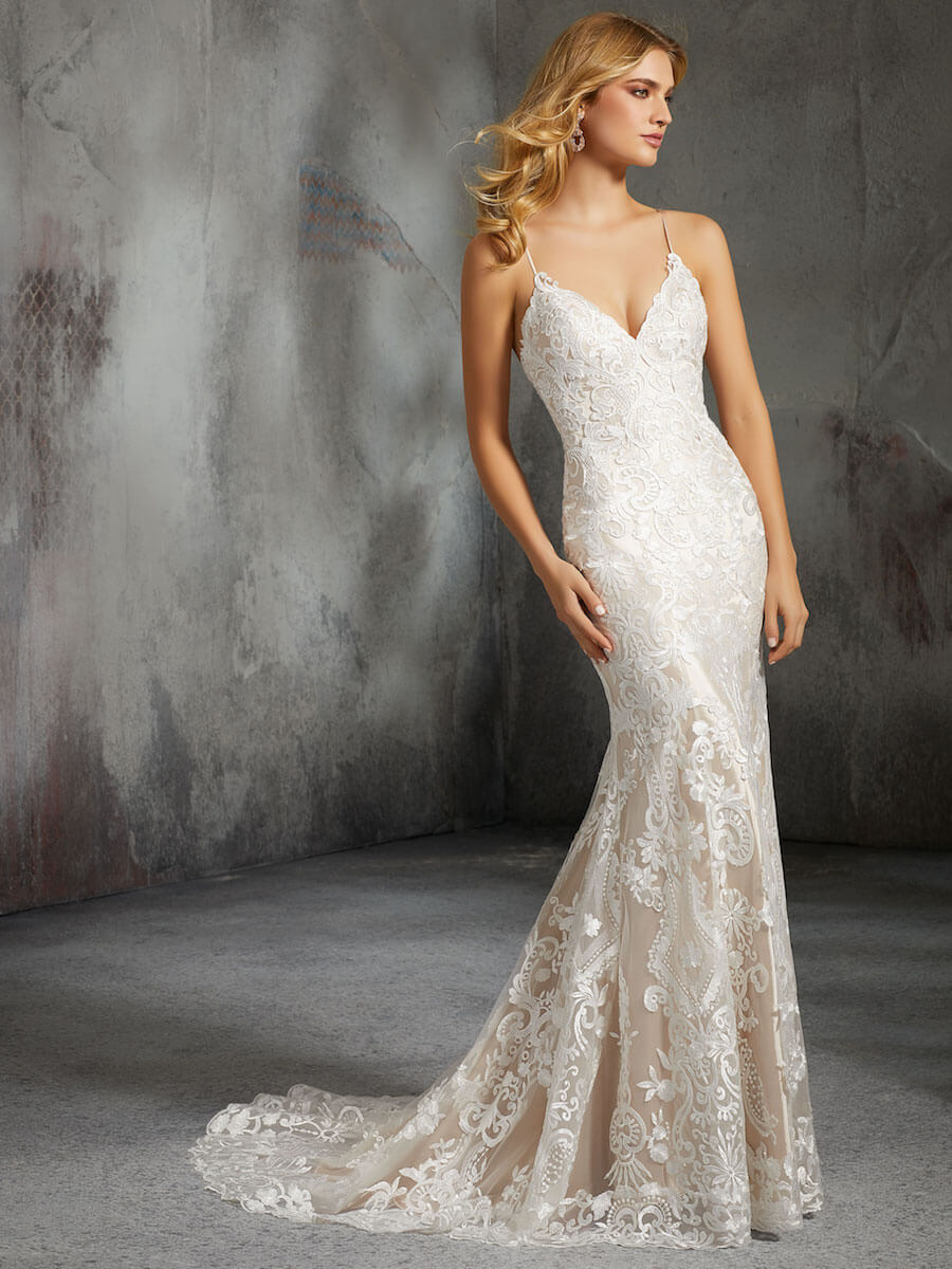 fitted sheath wedding gown