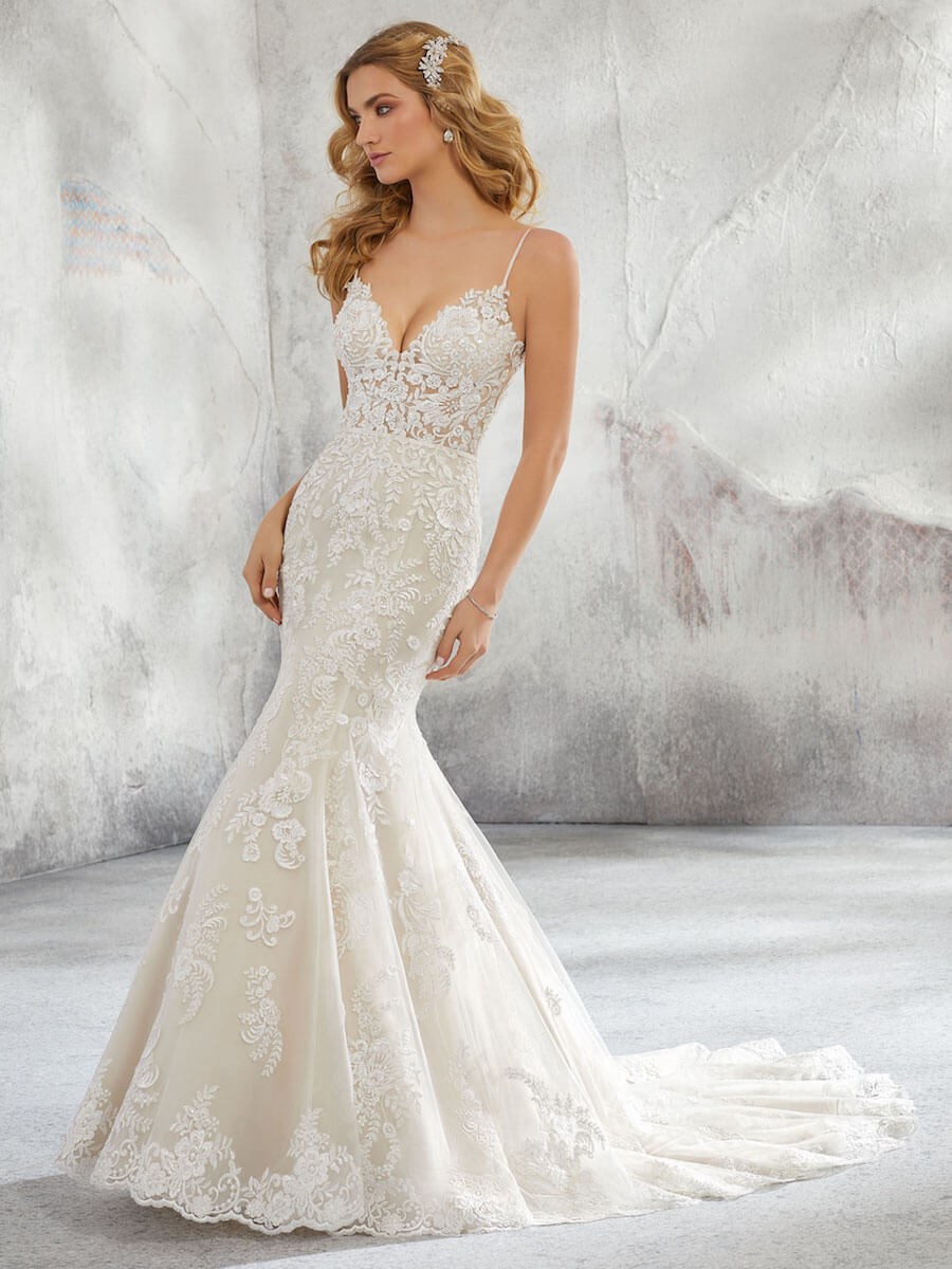 fit and flare wedding gown